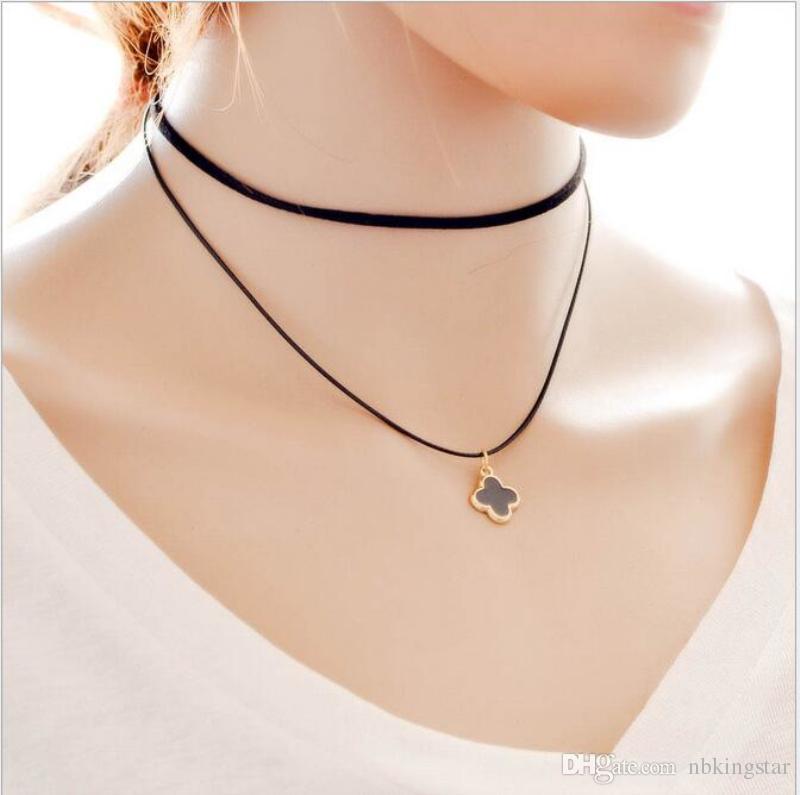 Mode sexy Schlüsselbein Gurt Kragen Choker Perlen Quaste Klee Anhänger Halskette Vintage schwarzer Spitze Samt Lederband Schlüsselbein Kette