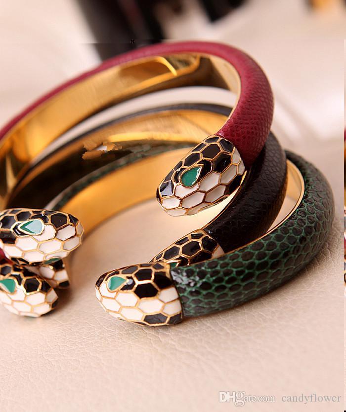 Nouveau bracelet de manchette en cuir de mode bracelet en acier inoxydable 316L bijoux de créateurs en or jaune 18 carats plaqué pour les femmes