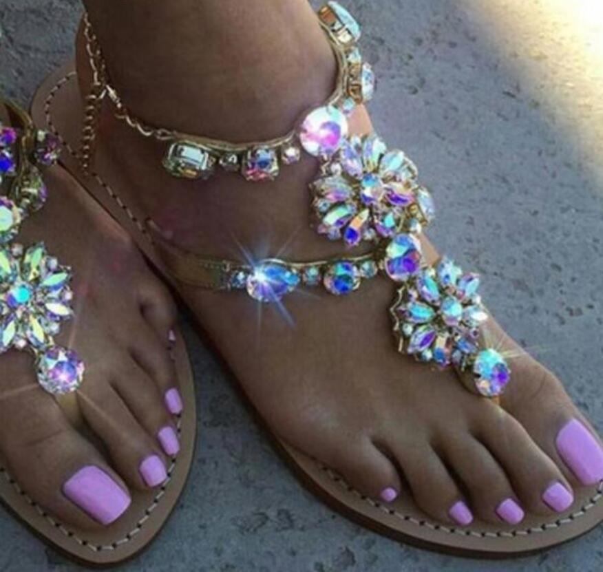 79d57d7f2b60 2017 Women Sandals Diamond Stud Flats Glitter Beach Shoes Ladies Fashion  Party Dress Shoes Flip Flops Big Size 44 Tan Wedges Fringe Sandals From ...