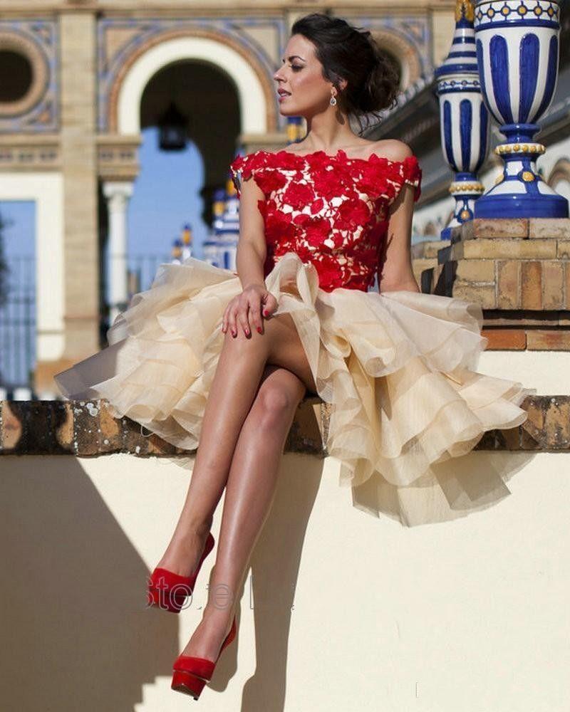 2016 새로운 싼 칵테일 드레스 어깨 레드 레이스 3D 꽃 아플리케 짧은 미니 Organza 계층 저녁 가운 파티 파티 홈 커밍 가운