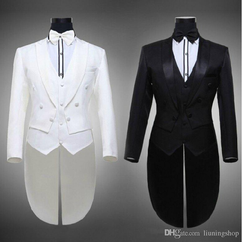 Hot 2016 Tailcoat Groom Tuxedos Best Man Groomsmen Men Wedding Suits Notch Lapel Performance Suit Black & White Jacket+Pants+Tie+Vest