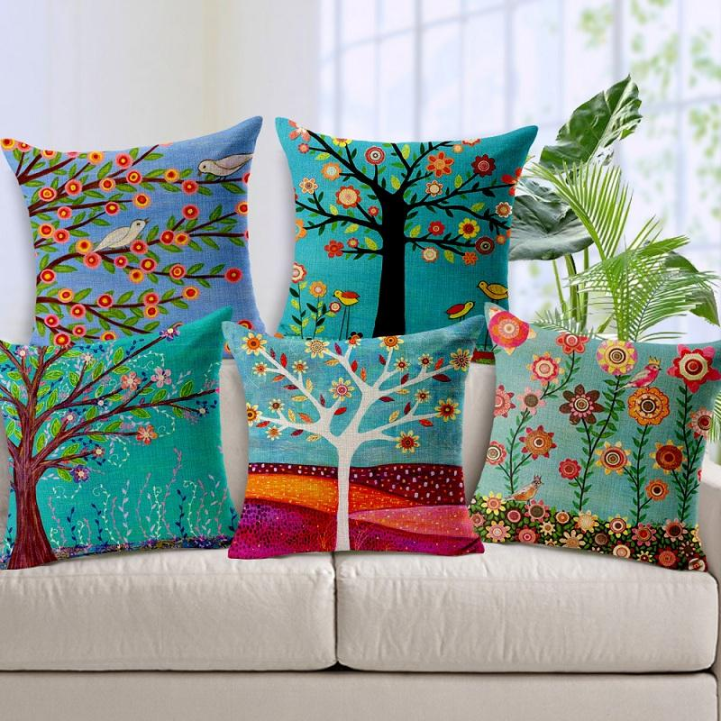 7 Styles Pastoral Flowers Trees Bird Cushion Covers Oil Painting Colorful  Floral Life Tree Cushion Cover Decorative Linen Pillow Case Wicker Patio  Cushions ...
