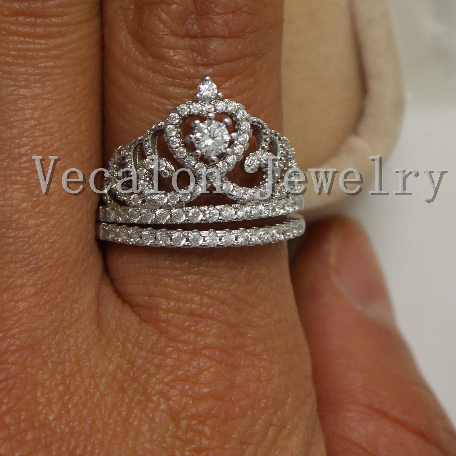 여성을위한 Vecalon 패션 크라운 결혼 반지 세트 Simulated diamond Cz 10KT 화이트 골드 채워진 여성 약혼 반지
