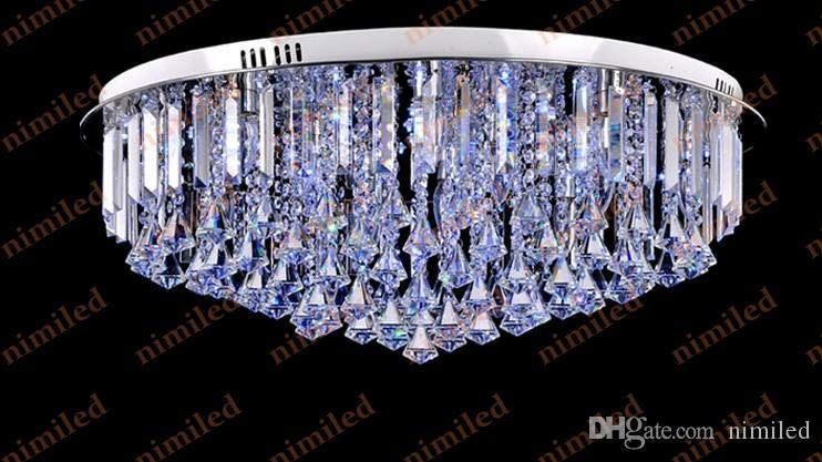 nimi808 dia 60 / 80cm semplice moda moderna circolare luci di soffitto di cristallo soggiorno ristorante lampada a sospensione lampada da letto lampadario