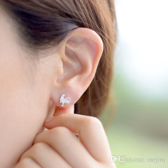 En gros en alliage de zinc coq rose boucles d'oreilles en or des hommes aux bijoux de mode des femmes, boucles d'oreilles magnétiques avec des cadeaux de Noël