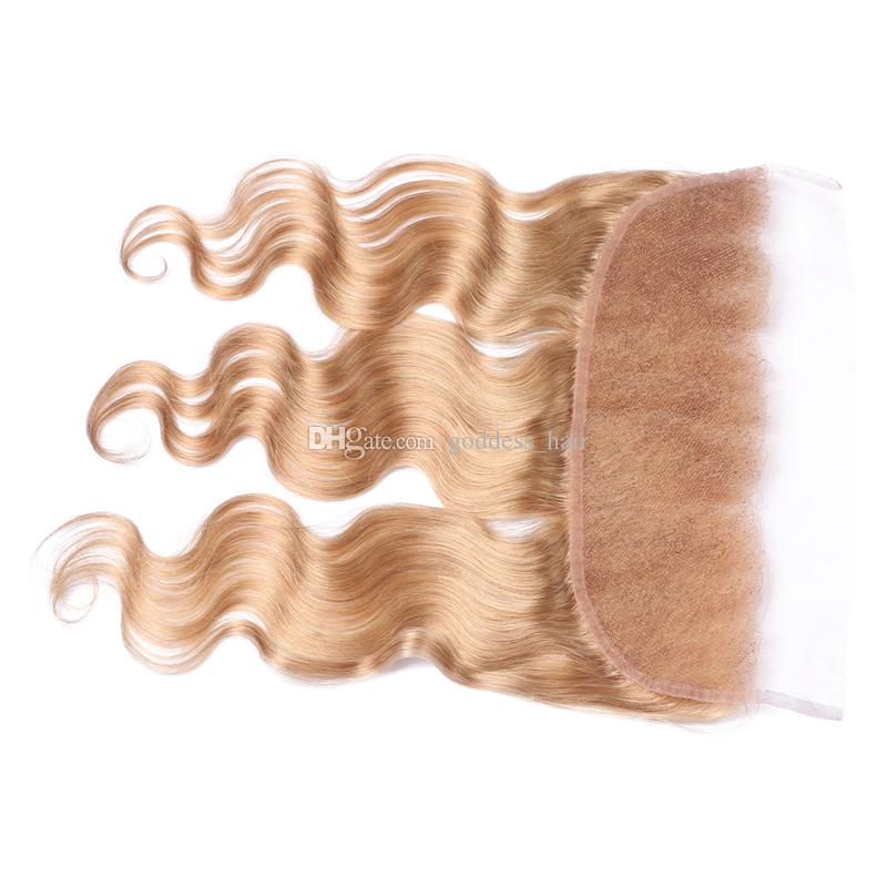 Honey Blonde #27 Full Lace Frontal With Baby Hair Brazilian 9A Body Wave Human Hair Glueless Ear To Ear Lace Frontal Free Part