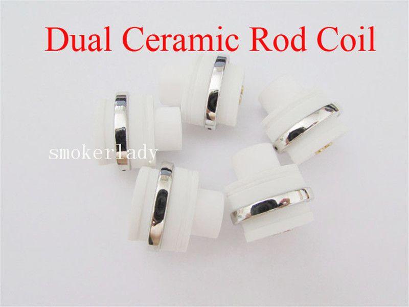 MOQ=Wax Full Ceramic Dual Coil Replacement Core Atomizer For Wax Vaporizer Pen Quartz Rod for Elips Cloud Pen