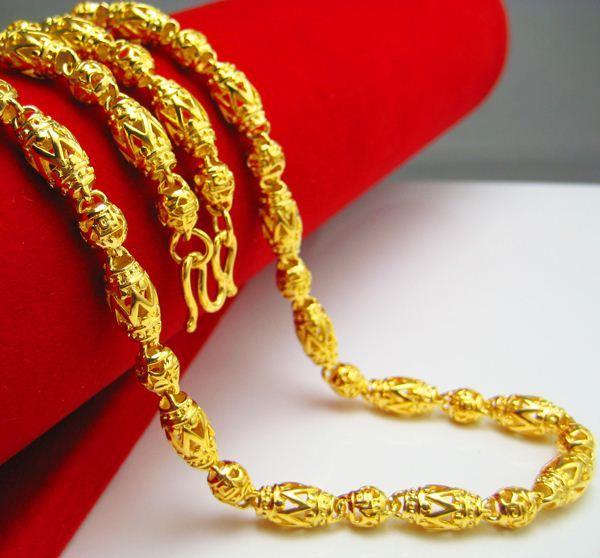 Uzun bir süredir solmaz Altın Kolye Mens simülasyon takı altın zincir zincir hollow boncuk İmitasyon takı erkekler arkadaşlara gönderilen