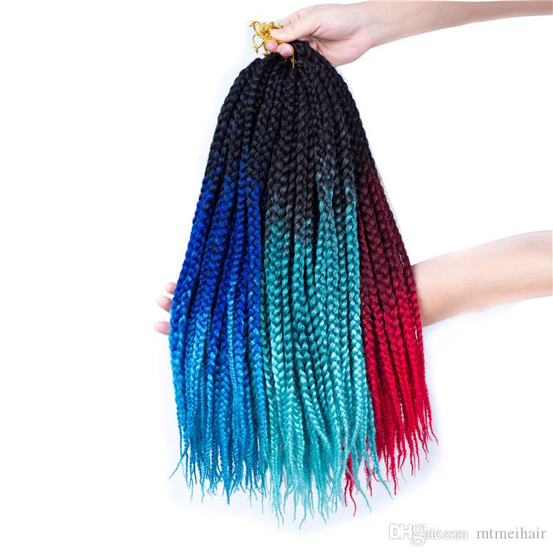 """Mtmei hair 1pack 18"""" 120g 20 strands/pack Ombre 3s Box Braids Crochet Hair High Temperature Fiber Synthetic African Hair Extensions"""