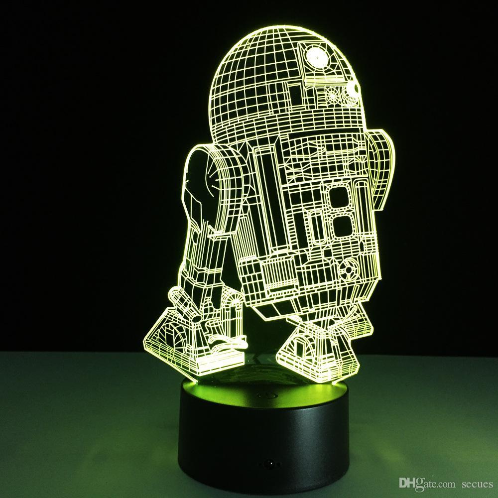 R2D2 robô Noite Lamp 3D Optical Lâmpada RGB luzes reguláveis DC 5V bateria IR Remote Control Box Retail