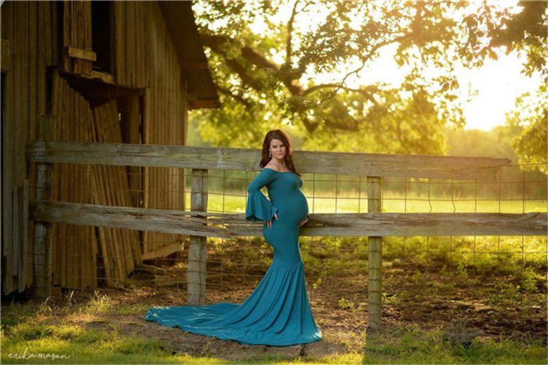 c3576aa20f5 2019 Maternity Dresses Maternity Photography Props Plus Size Dress Elegant  Fancy Pregnancy Photo Shoot Mermaid Long Dress From Angel 1314