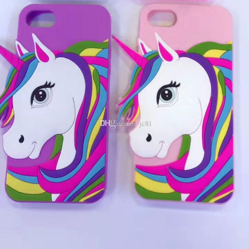Cute Cartoon Animal 3D Unicorn Soft Silicone Case for Iphone5 5s Se 6 6s Plus 7 7plus