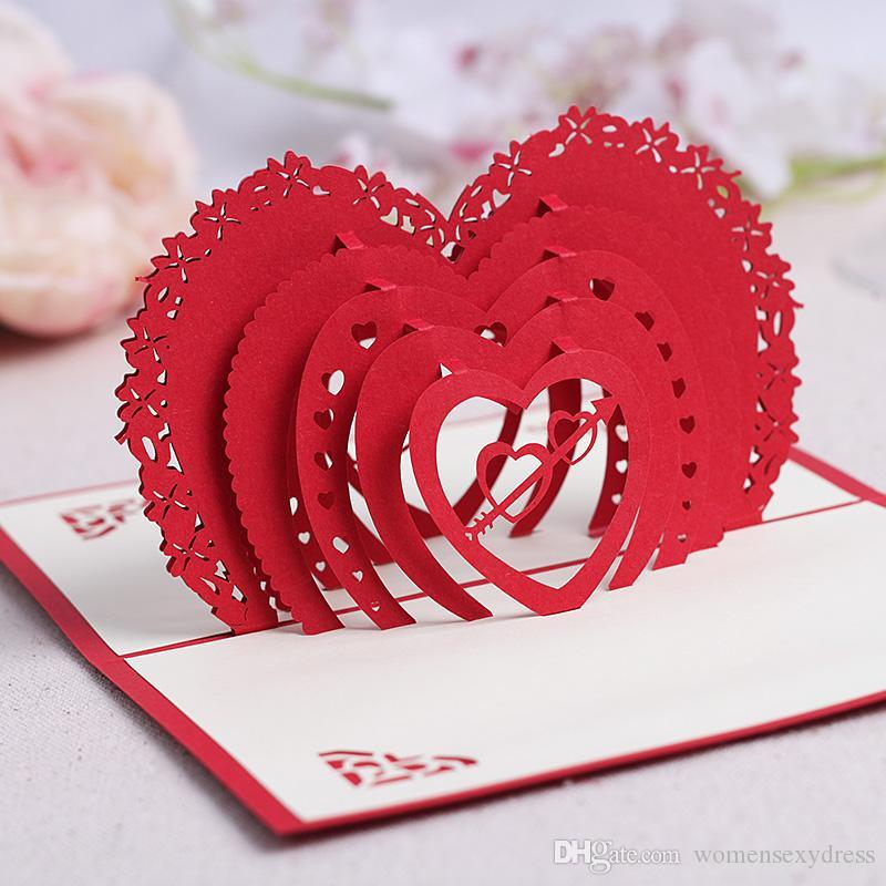 valentines day theme handmade birthday greetings cards kirigami 3d heart pop up cards for lovers kids greeting cards love birthday cards from - Valentine039s Day Greeting Cards