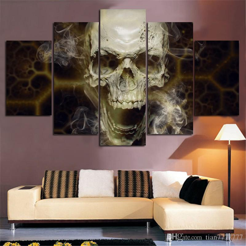 Home Decoration Wall Art 5 Panel Skull Painting Abstract