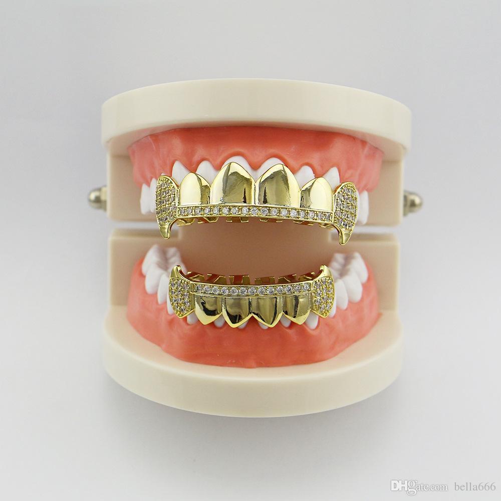 Women Men Copper Hiphop Grillz Micro Cubic Zirconia Top Bottom Vampire Dental Teeth Grills Halloween Gift Rapper Hip hop Fangs Jewelry Sets