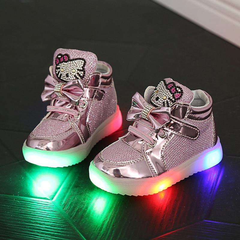 Kinderschuhe Neue Frühling Hallo Kitty Strass Led Schuhe Sport Mädchen Prinzessin Nette Schuhe Mit Licht Größe 21-30