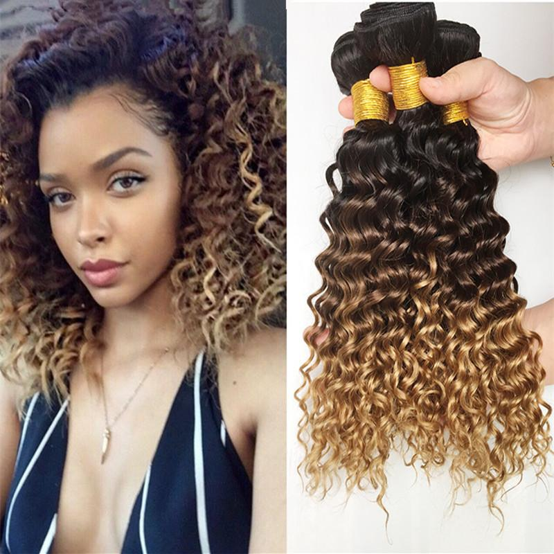 8a ombre brazilian human hair extensions cheap three tone colored 8a ombre brazilian human hair extensions 3pcslot cheap three tone colored 1b427 honey blonde ombre deep wave hair weave wefts pmusecretfo Image collections