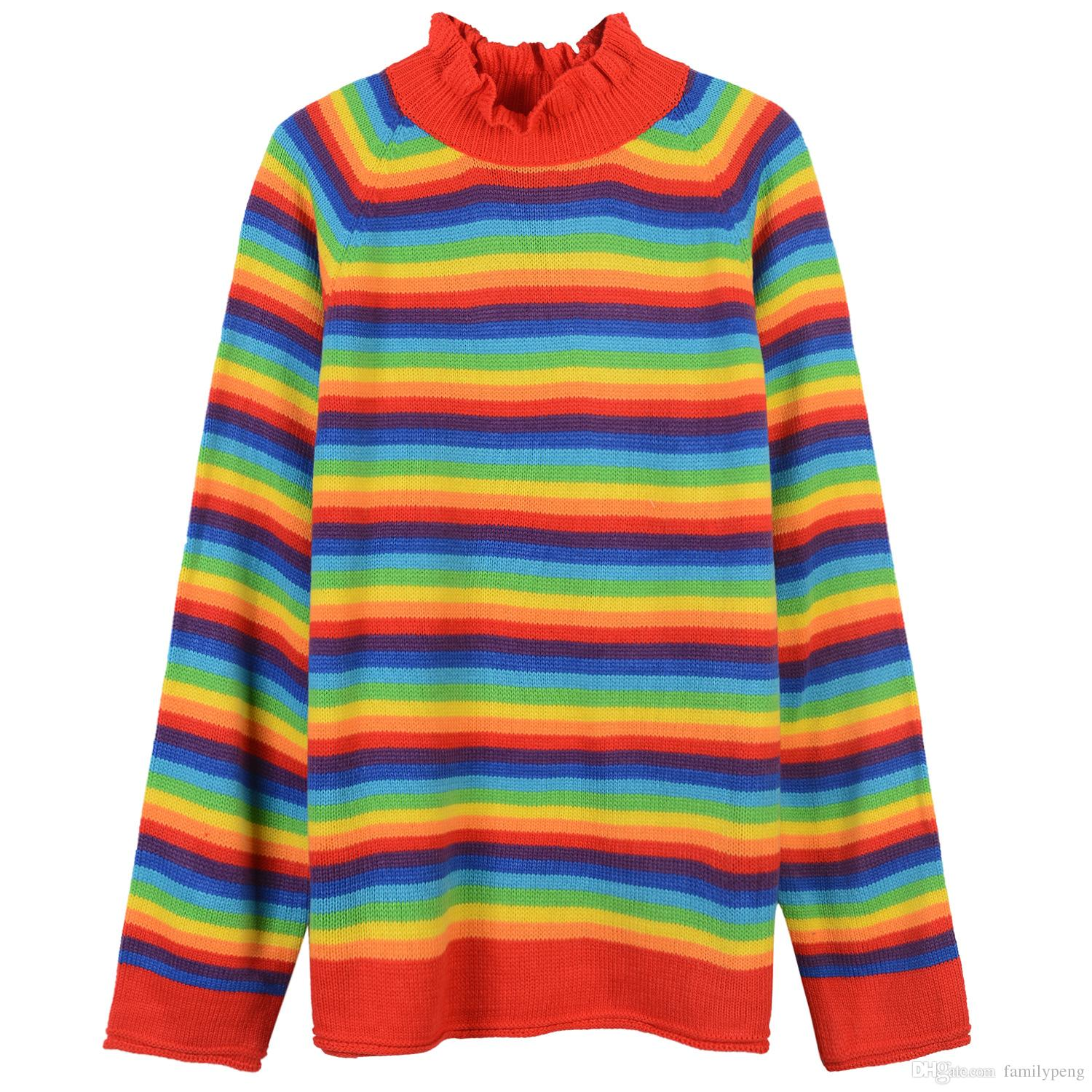 2018 2017 High End Rainbow Striped Long Sleeves Women'S Sweater ...