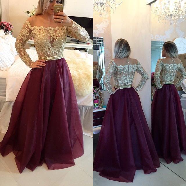 2016 Burgundy Sheer Long Sleeves 레이스 댄스 파티 드레스 Applique Parted Top Beads 롱 이브닝 가운 버튼이있는 정장 드레스 파티