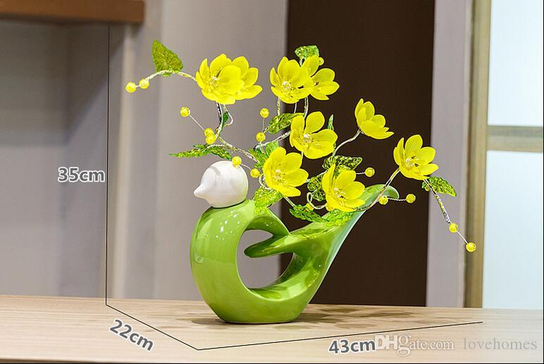 Modern Lucky round bird 11 Shapes Ceramic Vase for Home Decor Tabletop this pirce is for a set vase and flowers together