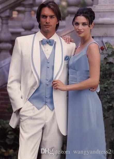 Новый стиль Свадебные костюмы на заказ Жених Смокинги Белые Формальные костюмы Красивый Бизнес носит костюмы Groomsman куртка + брюки + жилет