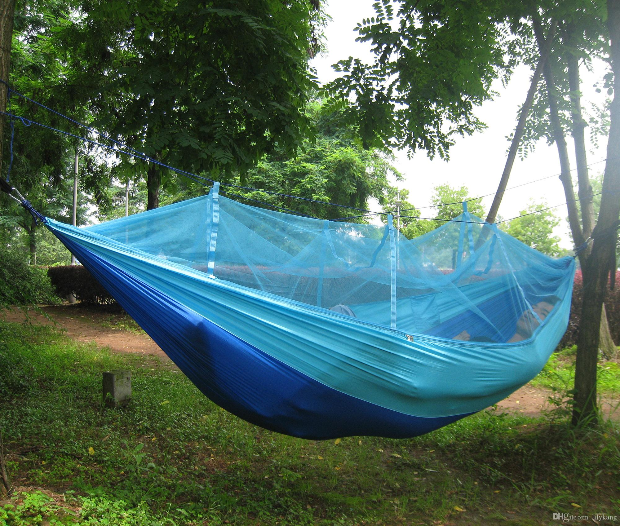 2019 outdoor furniture general use military hammocks portable hammock hanging bed hammock swing chair double parachute hammock with mosquito net from