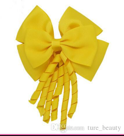 i! 4inch Korker Streamer Ribbon Elastic Bobble Grosgrain Ribbon Long Korker Tail Fancy Carino Capelli Arco con clip ragazze /