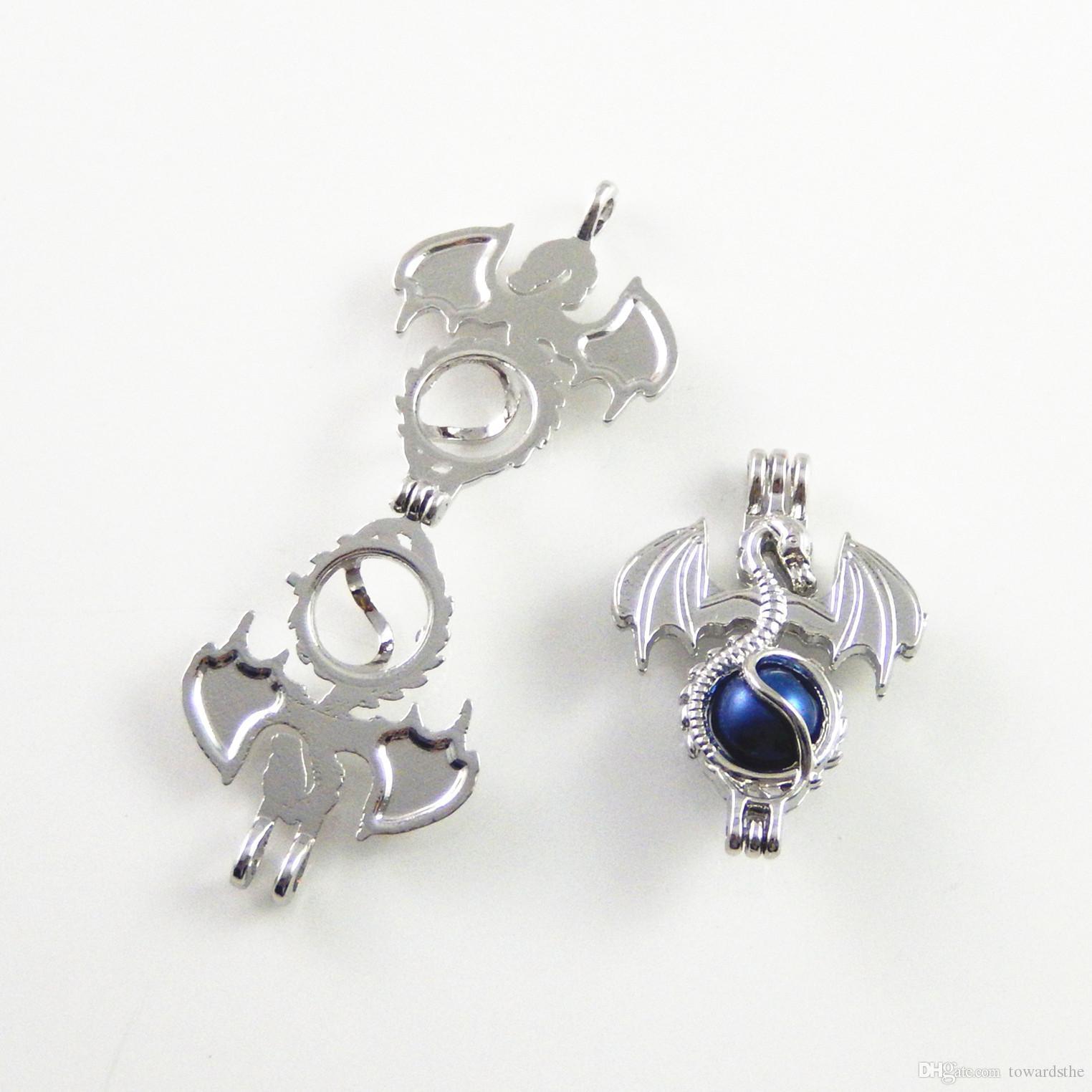 Collar de perlas con colgante, difusor de aceites esenciales, el dragón proporciona 10 piezas plateadas, más su propia perla, la piedra la hace más atractiva