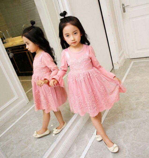 2017 new design baby girls autumn dress lace princess dress faux twinset design with petal long sleeve skirt kids dress