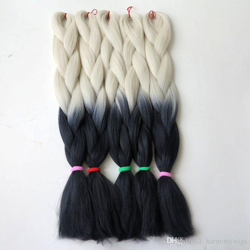 Kanekalon Ombre Braiding hair synthetic Crochet braids twist 24inch 100g White&Black Xpression Jumbo braid hair extensions