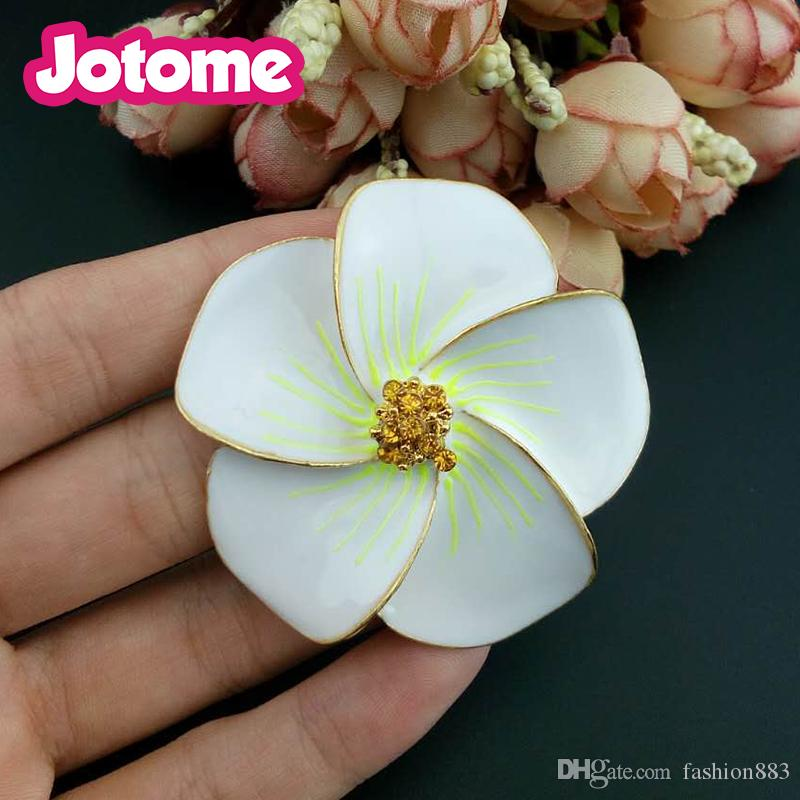 new arrival design Hawaii jewelry Beautiful sun Flower white leaf Rhinestone Brooch and Pin for Gift