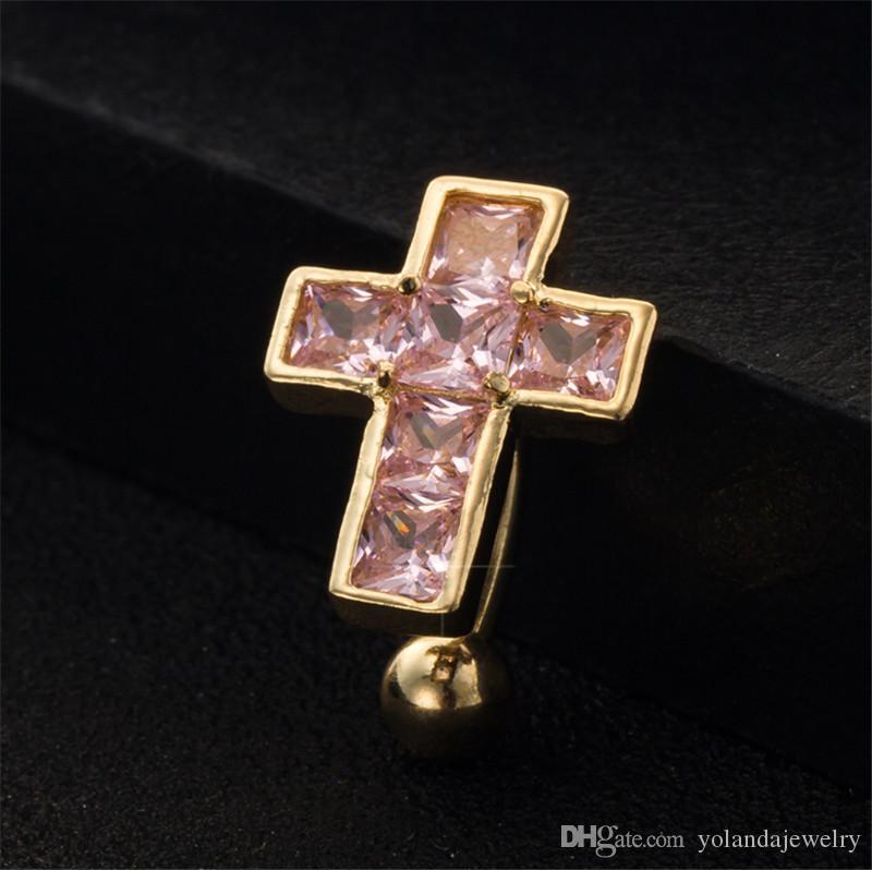 Cristal colorido bonito cruz umbigo umbigo anéis body piercing cirúrgico de aço do umbigo anéis barriga anel no umbigo jóias corpo