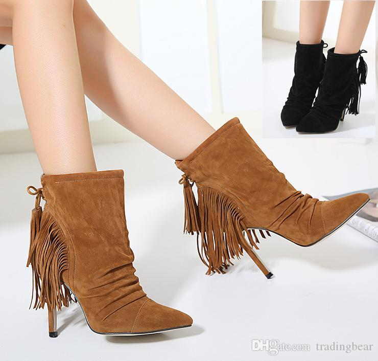 Multi-colors orange pointed high heel suede boots fashion ankle boots for women pumps shoes size 34 to 38 shop for cheap online 2igLF4LJ