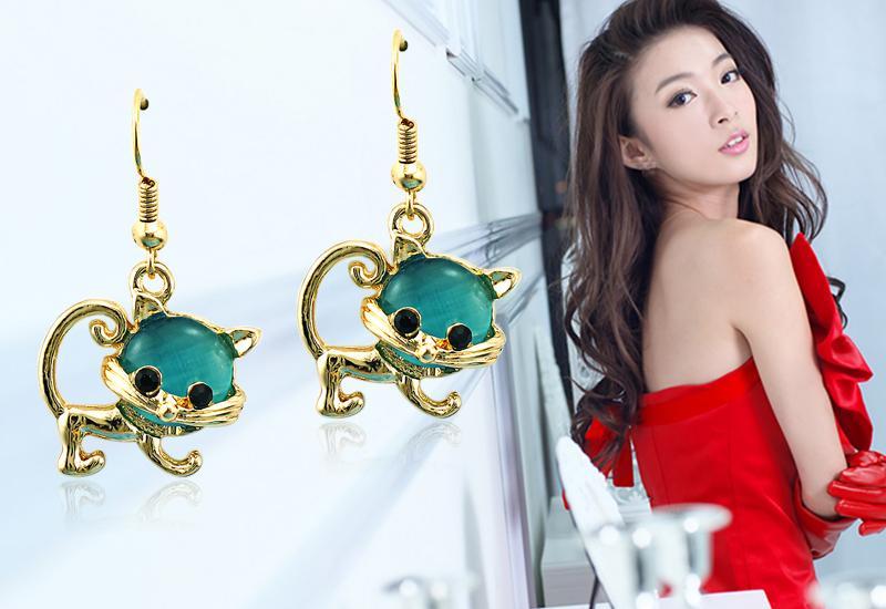 Mezclar los encantos de las ventas Pendientes de los ganchos del acero inoxidable Cuelgan los pendientes plateados oro del ópalo Pendientes para las mujeres