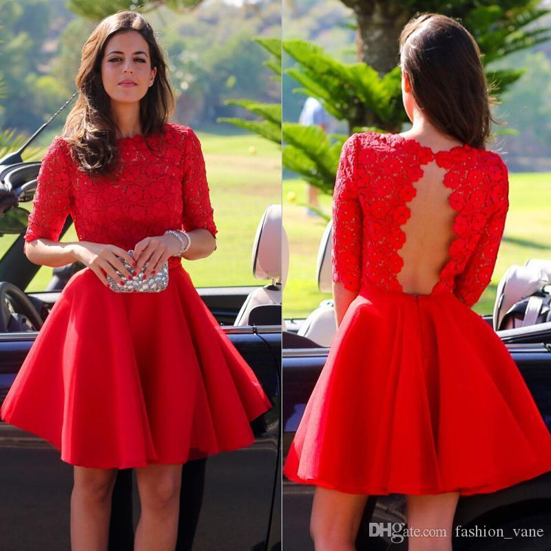 Hot 2016 Jewel Red Lace Graduation Dresses 1/2 Sleeves Short Red ...