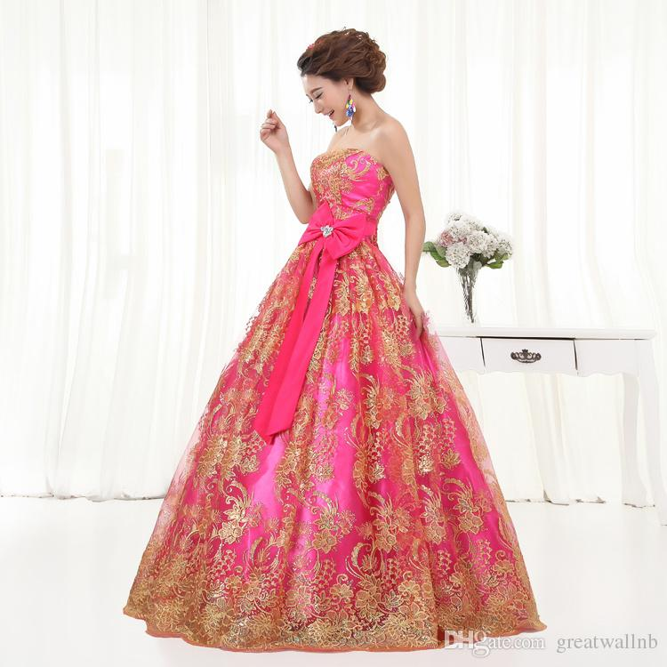 Free Ship Pink Sequined Golden Embroidery Ball Gown Royal Medieval ...