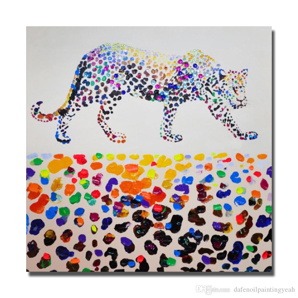 Leopard Painting on Canvas Home Decor Living Room Wall Pictures Hecho a mano Pintura al óleo Home Wall Art Pictures No enmarcado