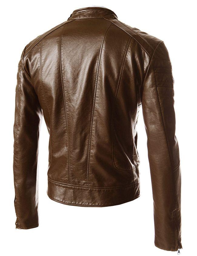 Multi Pocket Men Autumn PU Jacket Stand Collar Oblique Zipper Peronalize Motorcycle Jacket For Men Long Sleeve Slim Jacket Coat Men J160931