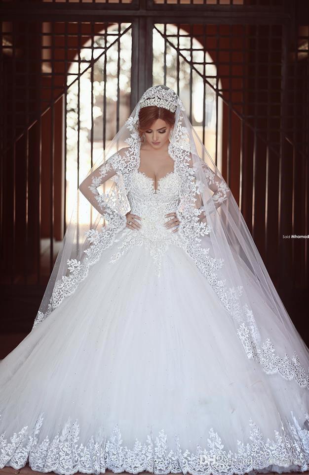 Style arabe Vintage Robes De Mariée 2016 Plus La Taille Robe De Mariage Riches En Dentelle Robe De Bal Sexy Chérie Avec Manches Longues Robes De Mariée