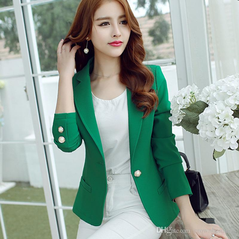 Blazers Suits & Sets Cheap Sale New Spring Autumn Blazer Suit Women Korean Slim Show Thin Solid Ladies Blazers Suit Gray Blue Green White Small Suit Work Wear