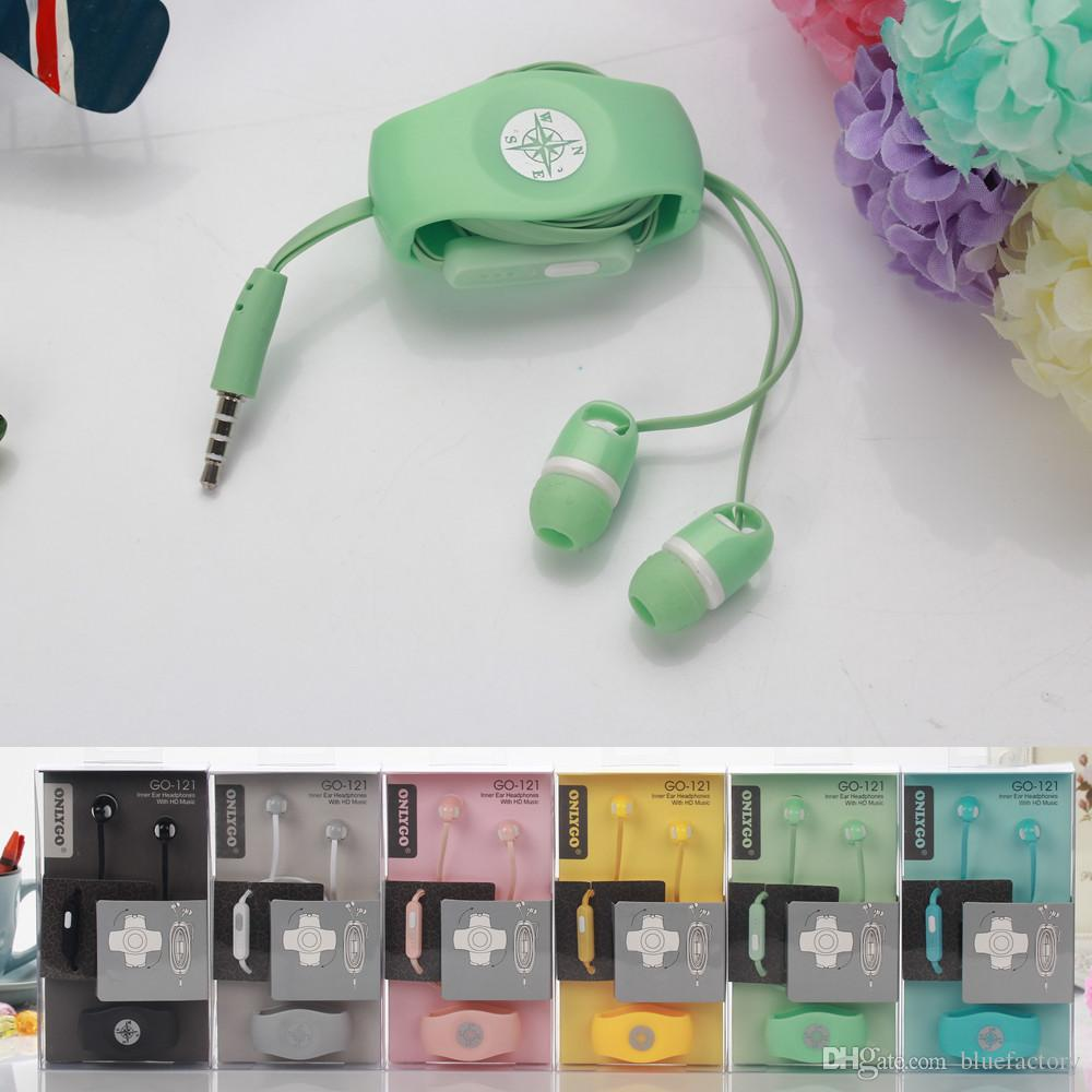 Headset In Ear Earphone with Mic 3.5mm Onlygo Headphone Dual Candy Color with Cable Holder Winder Organizer for iphone 6 Cell Phone MP3 ipod