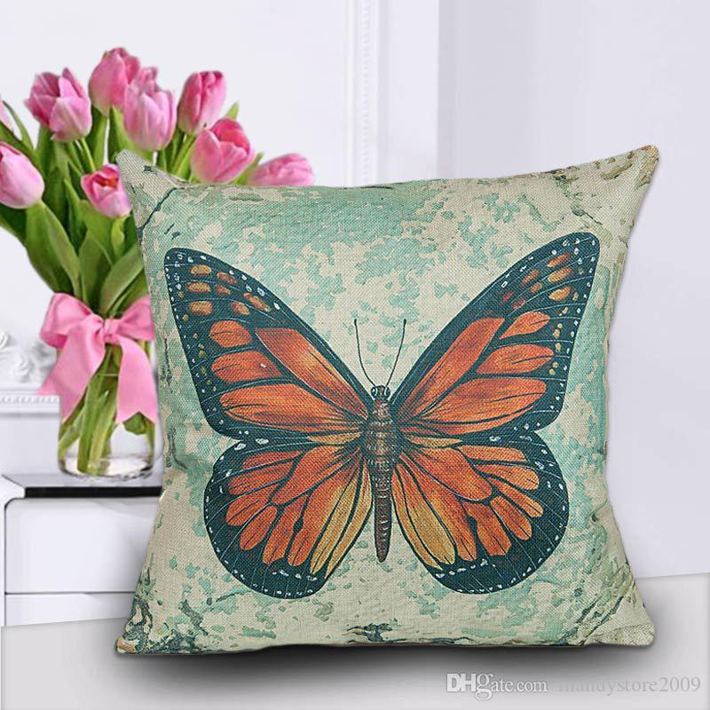 Butterfly Digital Print Cotton Blend Sofa-Cushion Cover Cute Papillon Naps Pillow Cases Square Home Textile Decoration Cushion Covers
