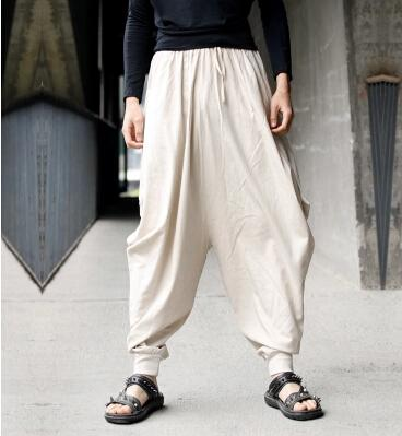Men Cotton and Linen Casual pants – Loose Cotton and Linen Printed Hanging Crotch Yoga Pants MPauH
