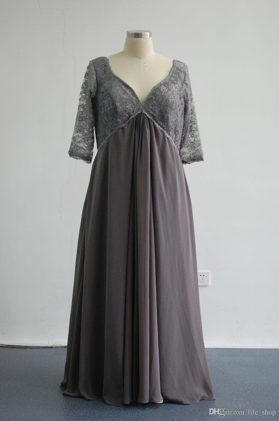 2016 A-Line Günstige Plus Size Brautkleider V-Ausschnitt 3/4 Ärmel Chiffon Spitze Bodenlangen Rüschen Empire-Taille Party Kleider