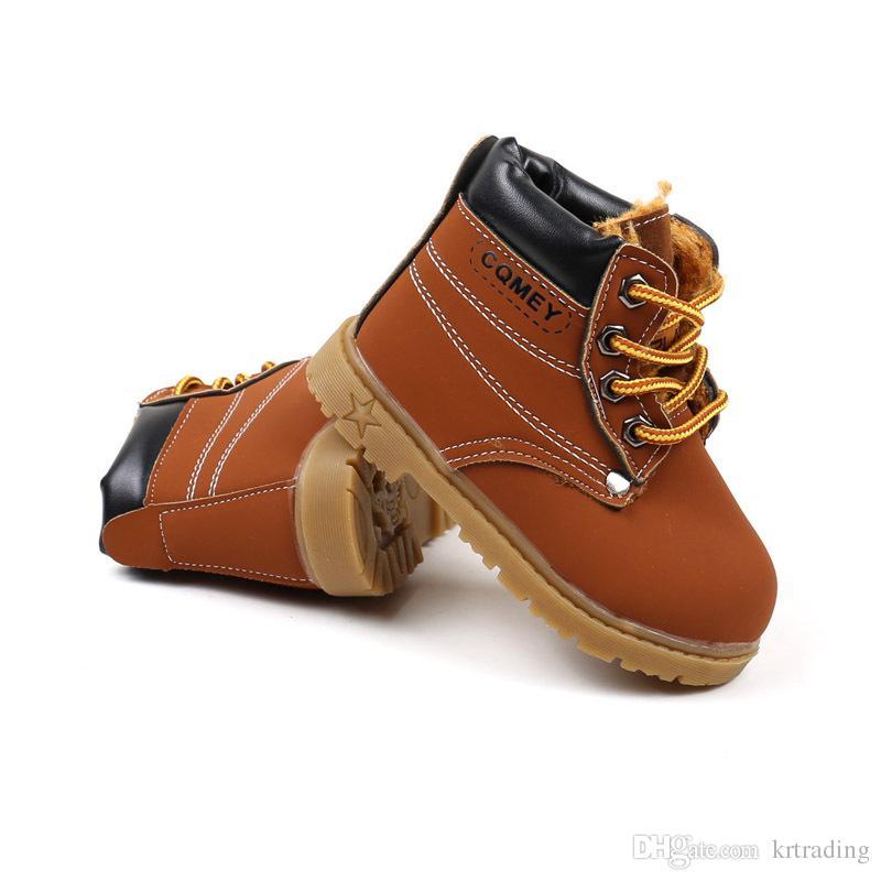 Kinder warm Martin Stiefel 3 Farben Frühling Herbst Winter Kleinkinder Schnürschuhe für Jungen Mädchen 1-5T
