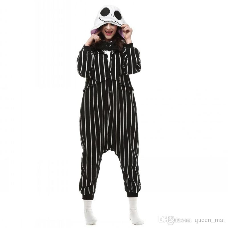 de9a69d6e4 Cosplay Anime The Nightmare Before Christmas Jack Skellington Skeleton  Costume Onesie Party Christmas Pajamas Plus Size S XL Jumpsuit Free 5  Person ...