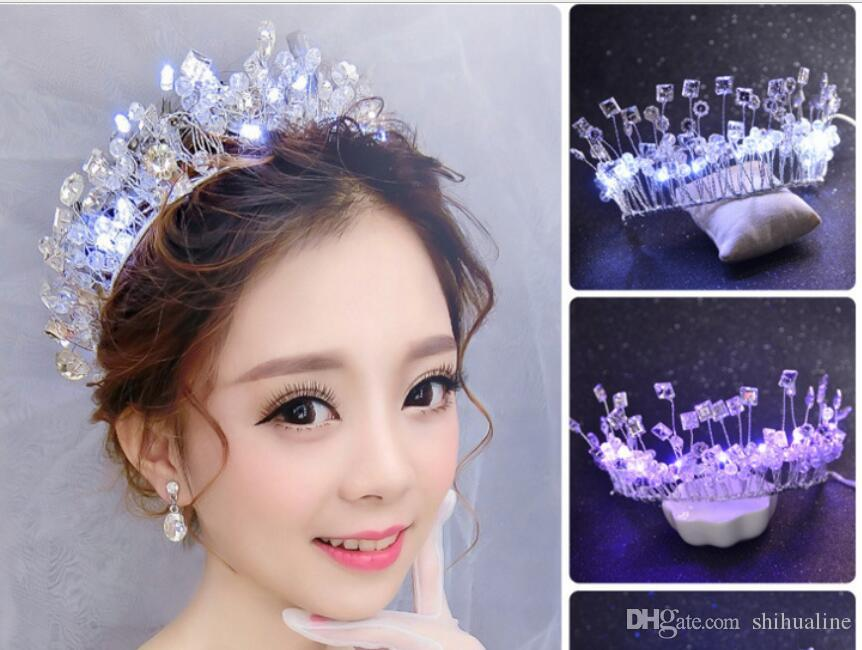 2018 Bride Crown Tiara Crystal Glow Handmade Hair Accessories ...
