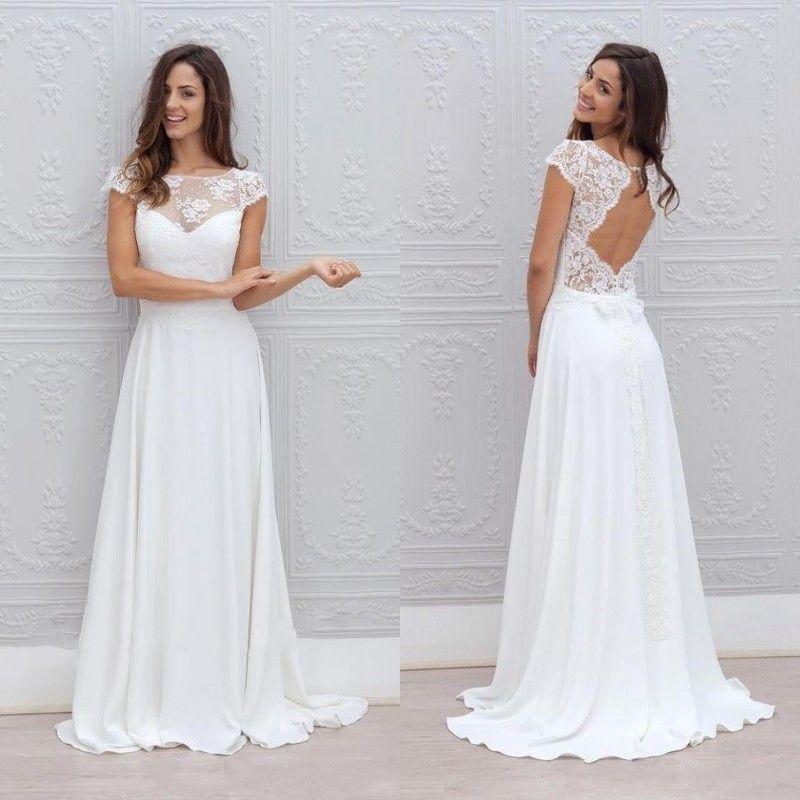 Großhandel 2016 Bohemian Hochzeitskleid Illusion Ausschnitt Capped ...