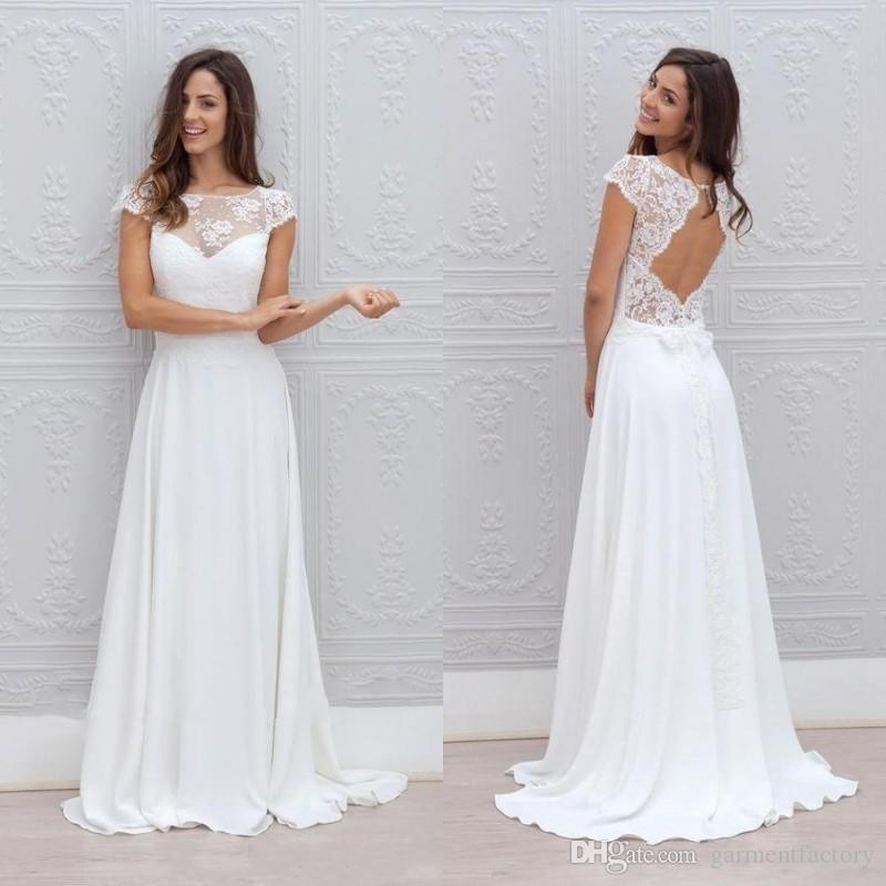 Simple A Line Long Sleeve Wedding Dress Elegant 2016: Discount 2016 Bohemian Wedding Dress Illusion Neckline