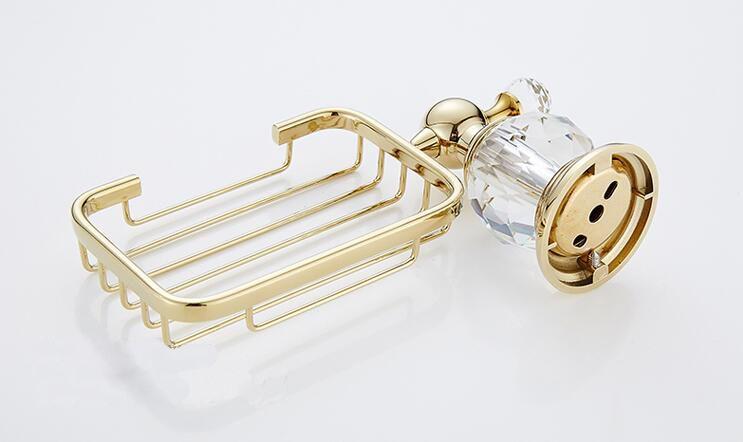 Fashion Bathroom Accessories Brass Crystal Bath Shower Soap Wash Basket Holder Shelf Wall Mounted Golden Finishes